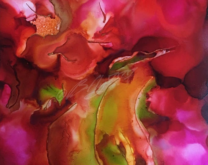 "Original Alcohol Ink Abstract Painting: ""Bed of Roses"""