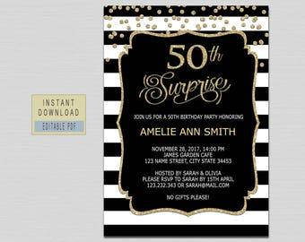 Surprise 50th birthday invitation etsy 50th surprise birthday invitation woman surprise 50th birthday invitation for women 50th birthday invitations filmwisefo Gallery