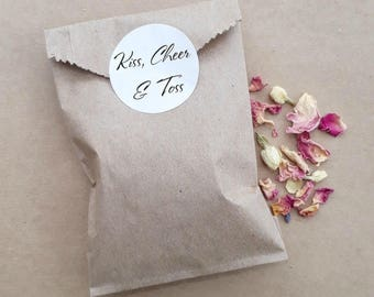 Wedding Confetti Paper Bag Biodegradable Personalised Custom Floral Petal Confetti Packs Toss Exit Rose Jasmine Lavender x 20