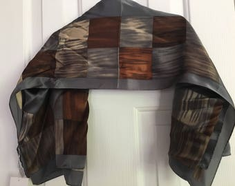 Liz Claiborne designer/handmade vintage 100% silk scarf grays/off whites/browns squares new/oldstock still with tag.