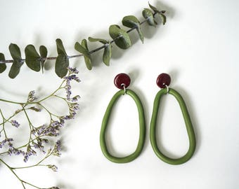Statement Polymer Clay 'Pear Drops' - Olive and Maroon