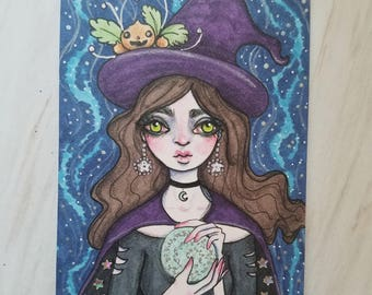 Original Drawing Fortune Teller Crystal Ball Witch Artist Trading Card