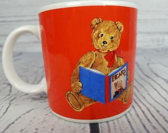 Vintage Bear Reading Book Mug Coffee Cup Novelty Retro Decor Break Time Tea Hot Beverages Schmid Gordon Fraser 1983 Japan