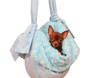 Blue Denim Dog Pet Cat Winter Carrier Dog Bed  Sling Soft Stylish Tote for Small Dog or Puppy