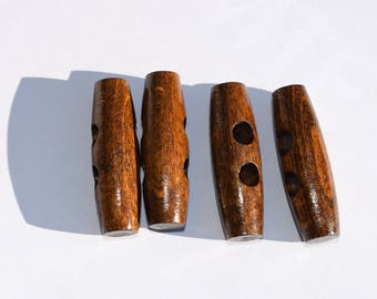 Set of 4 Vintage wooden buttons wood
