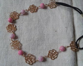 golden flowers headband and pink beads