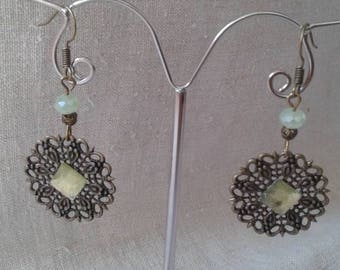 "Earrings ""bronze and green print"""