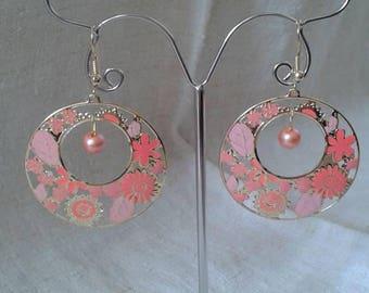 pink flower hoop earrings