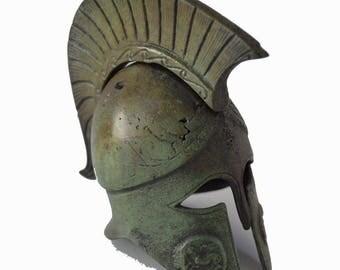 Helmet bronze ancient Greek reproduction miniature artifact with Athena Pegasus carvings