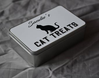 PET Lover Gift. Personalised Cat Treat Tin. Personalise With Your Pet's Name