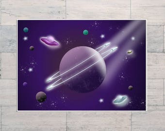 Planets, Space Travel, Outer Space, Spaceship, Aliens, Extraterrestrial, Galactic, Cosmos, Printable, Instant Download, Digital Download,