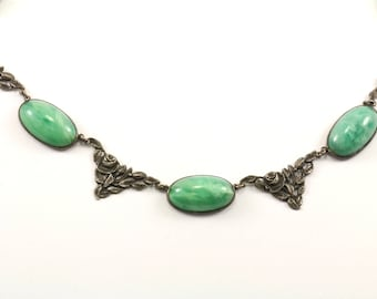 Vintage Floral Design Jade Stone  Necklace 925 Sterling Silver NC 911