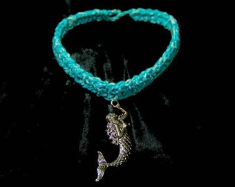 Free Shipping. Turquoise Mermaid Crochet Choker, Mermaid Jewelry, Crochet Jewelry, Womens Jewelry, Mermaid Necklace, Ocean Jewelry, Gift