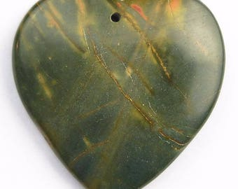 Natural Picasso Jasper Pendant Natural Multi-Color Stone Red Green Blue Bluish Stone Pendant Heart Pendant Bead