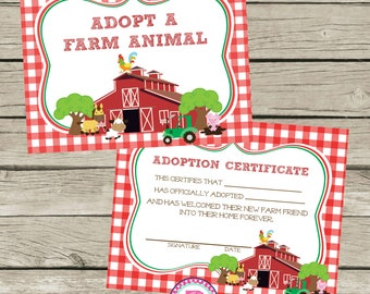 Adopt a Farm Animal Adoption Certificate Horse Birthday Party Ideas Red Check Barn Farm Cowgirl Cowboy Horseback Riding Pet Adoption Party