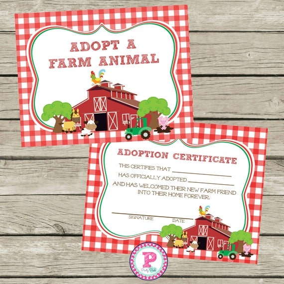 Adopt a farm animal adoption certificate horse birthday party adopt a farm animal adoption certificate horse birthday party ideas red check barn farm cowgirl cowboy horseback riding pet adoption party yadclub