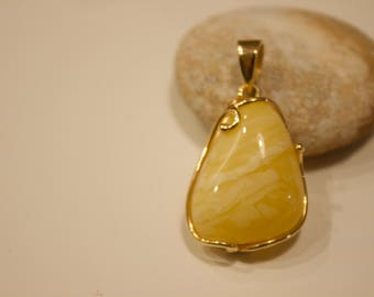 Amber Pendant , Gold Silver  10,2 g