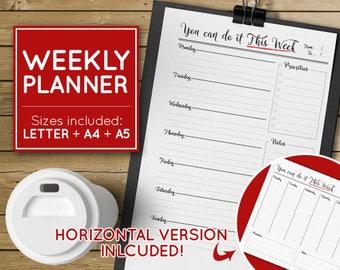 Weekly Planner, Weekly Schedule Printable Weekly Agenda, Weekly Planner Agenda, printable weekly agenda, perpetual agenda - INSTANT DOWNLOAD