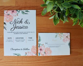 PRINTED Floral Wedding Invitation, Spring Wedding Invitation, Wedding Invite, Digital or Printed, RSVP Combo, Cutomize, Neutral