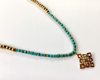 Gold and turquoise mala