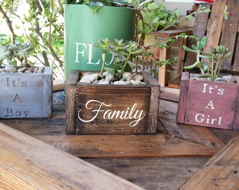 Succulent wooden planters personalized