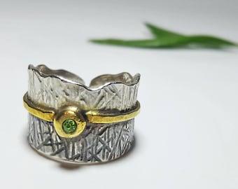 Promise Ring for Her, Promise Rings for Women, Promise Ring Vintage, Swarovski Crystal Ring, Green Stone Ring, Small Stone Ring, Open Ring