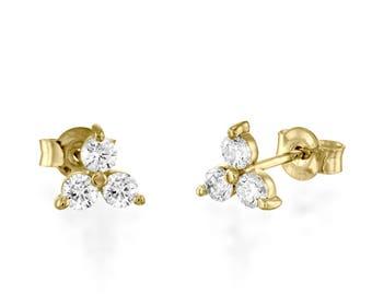 Diamond Clover Earrings, Diamond Earrings, Woman Stud Earrings, Three Diamonds Earrings With Screw Back, Diamond Stud Earrings, Real Diamond
