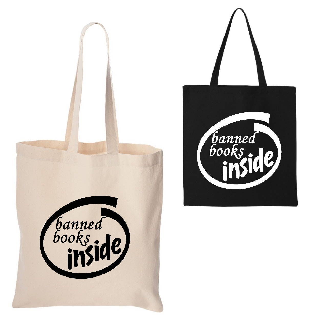 14169d66a704 I Read Banned Books Tote Bag - Banned Books Inside - I Read Books - Censored