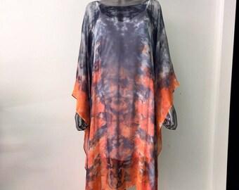 Gorgeous Flowing Silk Chiffon Caftan, Hand Dyed & One of a Kind! Goddess Wear/ Ethereal Wearable Art/ Beach/Resort/Vegas/ Festival