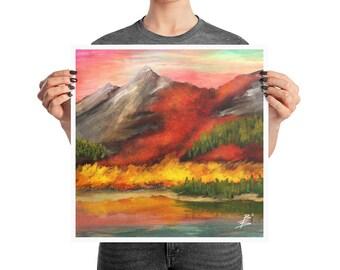 High Sierra Landscape Poster, 10x10, 12x12, 18x18, Bob Ross Style Decor, Sunset Mountain Oil Print