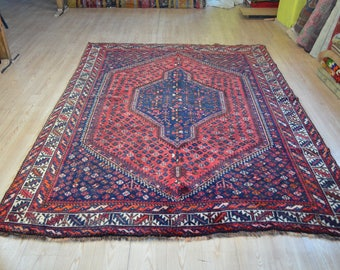 Vintage tribal rug. Persian rug. Persian vintage rug. Large vintage carpet. Persian carpet. Free shipping. 8.9 x 6.4 feet.