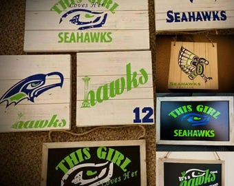 Seattle Seahawks Wooden Signs