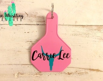 Pink Cattle Tag Keychain - Cattle Tag Keychain - Ear Tag Keychain - Custom Keychain - Western Keychain - Cactus Keychain