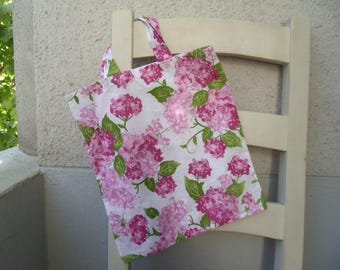 Shopping bag bag Tote shopping bag flowers floral hydrangea pink Granny woman large carrying bag