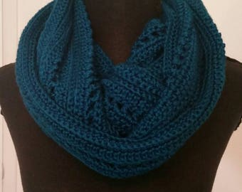 Teal infinity scarf, teal scarf, handmade crocheted item