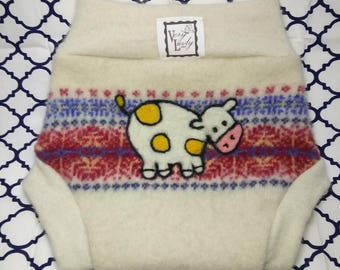 "Handmade Recycled Wool Soaker Cloth Diaper Cover ""Cow"" Size Medium"