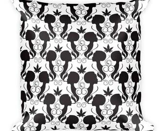 Cannabis Smoking Silhouettes Pattern Noir Nug Pot Vape Herb Dab Lady Marijuana Colorado Square Pillow