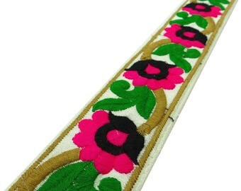 """Multicolor Floral Embroidery Trim, Indian Saree Border, Craft Supplies Accessories, 1.7"""" Inch Wide Ribbon By The Yard FT773B"""