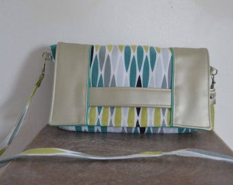Leather clutch - Silver, blue and green