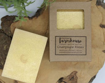 Champagne Kisses - Bar Soap - Goats Milk - All Natural - Farmhouse - Fresh  - Natural Soap - Valentines Day - Handmade Soap - Gift for her