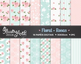 50% OFF - Floral Rose/ Shabby Chic Digital Paper