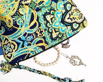 Boho Gypsy bag turquoise zipper pouch wristlet clutch