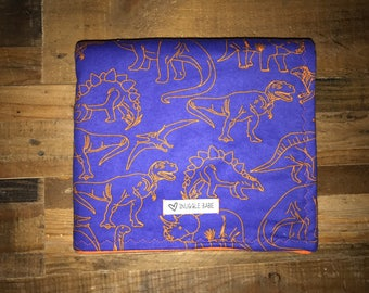 Orange and Blue Dinosaurs Double Sided Flannel Baby and Toddler Blanket