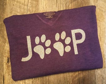 Ladies Jeep, Paw Print Tee - Choice of Tee and Lettering Color