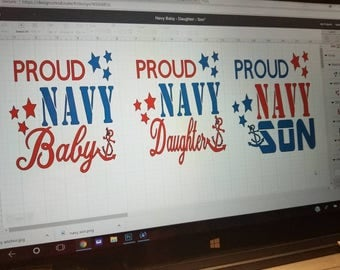USN, Navy, Proud, Navy Baby, Navy Daughter, Navy Son, Onesie or Tee
