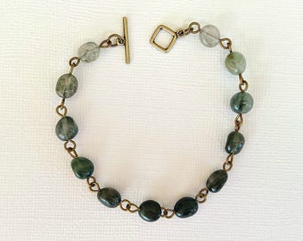 Rutilated Quartz Bracelet Ombre Bracelet Gemstone Bracelet Boho Brass Bracelet Bohemian Bracelet Crystal Bracelet Brass Bracelet