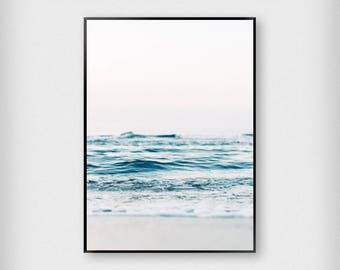Shore Print | Nature | Blue - White | Beach - Waves - Poster