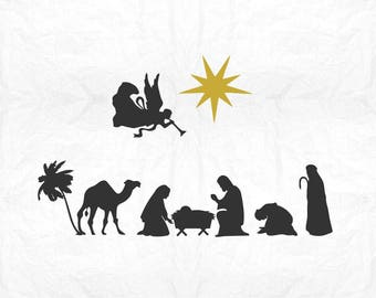 nativity scene  SVG Clipart Cut Files Silhouette Cameo Svg for Cricut and Vinyl File cutting Digital cuts file DXF Png Pdf Eps