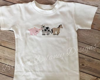 Custom crew neck romper, infant/toddler, short sleeved, swirly farm animals, cow, pig, horse, personalize