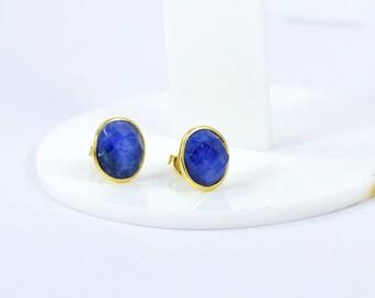 Blue  sapphire oval shape studs , gold plating  stud, gemstone stud, oval stud, The September birthstone,blue color stud,sapphire jewelry